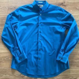 Express 1MX Cerulean Blue Dress Shirt